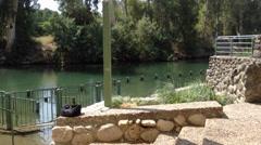 Baptism site in the Jordan River, Galilee, Israel Stock Footage