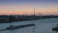 Stock Video Footage of Barge on Amstel River at sunset