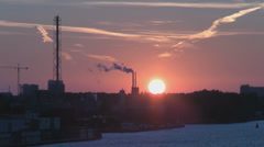 Industrial scene in Amsterdam at sunset Stock Footage