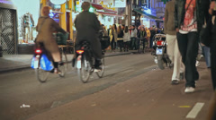 Ground level shot of street scene in Amsterdam Stock Footage