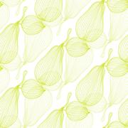 elegant seamless pattern with decorative pears, design element - stock illustration