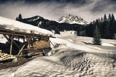Stock Photo of Beautiful Wintertime Landscape of Dolomites