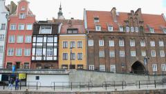 Gdansk, Poland. View on the city from the Motlawa river. 9 Stock Footage