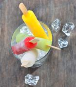 fruit ice pops - stock photo