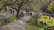 Stock Video Footage of High angle wide shot of people in a park of Amsterdam