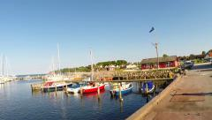 Looking around in the small harbor Stock Footage