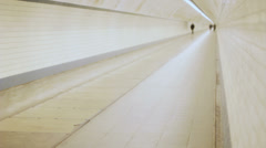 Lonely Man in Distance Walking in a Tunnel - 25FPS PAL Stock Footage