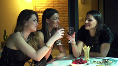 Attractive women making a toast at the party, slow motion shot at 120fps Stock Footage