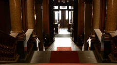 Staircase with red carpet - entrance (light) - historic interior Stock Footage