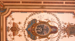 Painting on the ceiling - historic interior - art Stock Footage