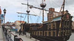 Gdansk, Poland. View on the Long Riverside aquatic promenade and galleon ship. Stock Footage