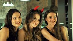 Young woman at the bachelorette party smiling to the camera, slow motion 240fps Stock Footage