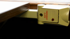Security alarm in the bank - under the table Stock Footage