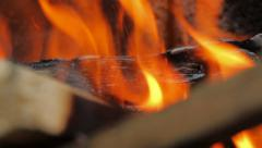 Fire, Natural Wood Planks and Logs Burning 10 Stock Footage
