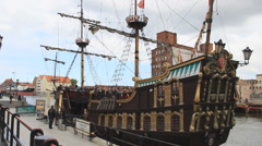 Gdansk, Poland. Passenger ship stylized on XVI century galleon. Stock Footage