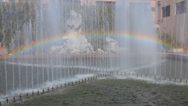 Stock Video Footage of Pan of Rainbow in Fountain