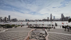 Pan Wide Shot of The Bund in Shanghai, China Stock Footage