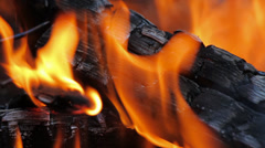 Fire, Natural Wood Planks and Logs Burning 11 Stock Footage