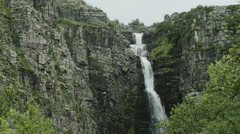 Forest Waterfall Njupeskar Medium Shot - 25FPS PAL Stock Footage