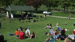 People attend anti GMO protest Stock Footage