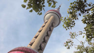 Stock Video Footage of Low Angle Tilt of Oriental Pearl Tower in Shanghai, China