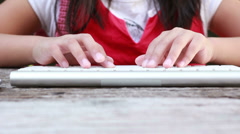 HD Close up girl hands typing on computer keyboard - stock footage