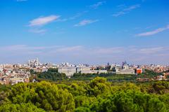 Royal Palace and the Almudena Cathedral - Madrid Spain Stock Photos