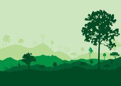 ecology concept detailed forest tree illustration vector background card - stock illustration