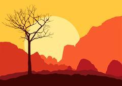 tree dry landscape scene background illustration vector - stock illustration