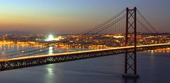 hdr - bridge over tagus - stock photo
