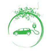 green earth with car reduce co2 - stock illustration