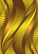 Stock Illustration of Golden waves on a brown background.
