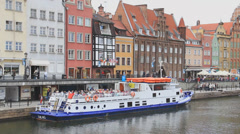 Gdansk, Poland. Motlawa river and the aquatic promenade in the old town. 2 Stock Footage