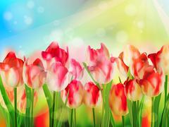 Beautiful Red Tulips. EPS 10 - stock illustration