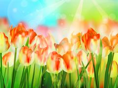 Beautiful colorful tulips in garden. EPS 10 - stock illustration