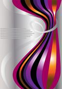 Bright curves of curved stripes on a light background - stock illustration