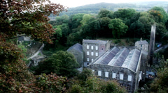 New Mills - Wide Landscape, Leaves Blow in Foreground - stock footage