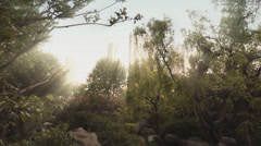 Sun rays in park, Shanghai, China Stock Footage