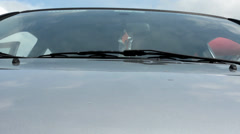 Car windshield with the bonnet Stock Footage