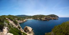 Ibiza mediterranean coast line Stock Photos