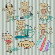 Nice vintage vector monkey set. EPS8 - stock illustration