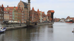 Gdansk, Poland. View of Motlawa river and the Long Riverside  aquatic promenade Stock Footage