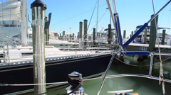 Sail Boat Bobbing in Marina - Medium Stock Footage