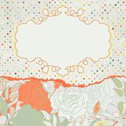 Romantic elegant floral with vintage roses. EPS 8 - stock illustration