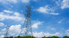 4k timelapse of electricity pylons with blue sky and clouds - stock footage