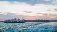 Ferry Floating Away At Bosphorus At Evening Time - stock footage