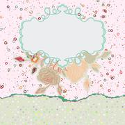 Valentine`s Day vintage pink card template. EPS 8 Stock Illustration