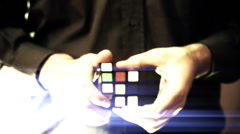 Solving Rubik Cube Puzzle Dreamy Look Stock Footage