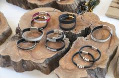 gemstone bracelets - stock photo