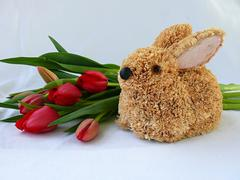 Stock Photo of straw colored hare easter